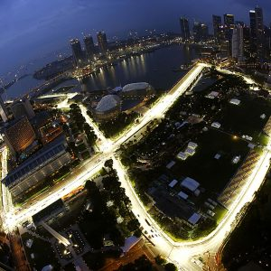 The Marina Bay street circuit of the Singapore F1 Grand Prix is seen illuminated at dusk