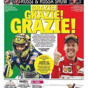 copertina gazzetta dello sport valentino rossi sebastian vettel 30 marzo 2015