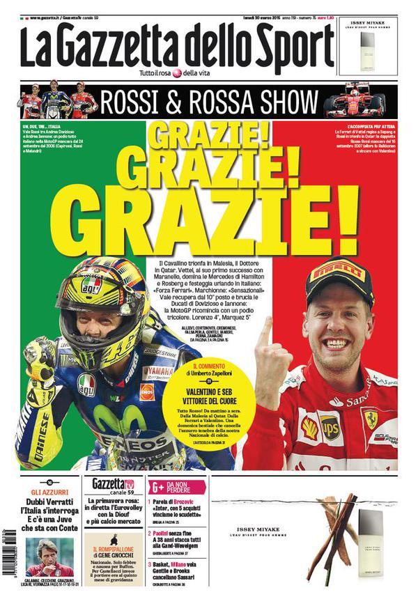La Gazzetta dello Sport, Lunedì 30 Marzo 2015