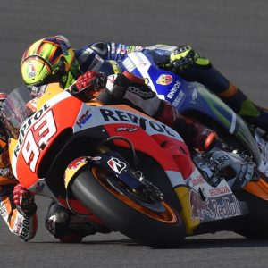marc marquez and valentino rossi of repsol honda and of movistar yamaha during the argentina round of the 2015 motogp championship at the termas de Rio Hondo